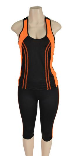 Docefit Women's Orange Active Workout Yoga 2 Piece Tank & Pa