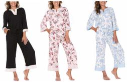 NEW!!! By Flora Nikrooz 3/4 Sleeve & Crop Pant 2 Piece PJ Se