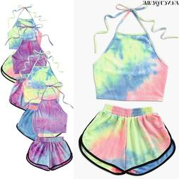 Sexy Women's 2 Piece Set Rainbow Halter Crop Top Shorts Set