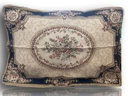 Tache 1-2 Chenille Floral Blue Medallion Woven Tapestry Pill
