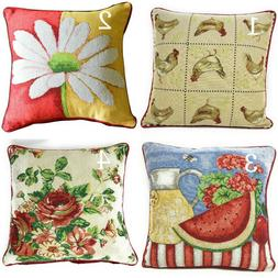 Tache Country Farmhouse Spring Chickens Floral Tapestry Cush
