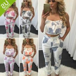 Women 2 Piece Outfits Sleeveless Floral Print Crop Top Pants