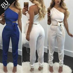 Women One Shoulder 2 Piece Club Set Bodycon Romper Jumpsuit