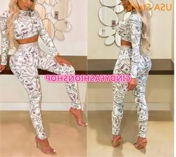 Women Print Sexy 2 Piece Set Turtleneck Long Sleeve Crop Top
